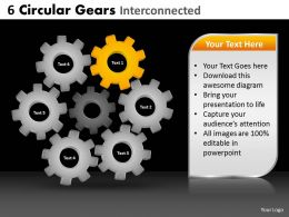 6 Circular Gears Interconnected Powerpoint Slides And Ppt Templates DB