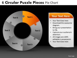 6 Circular Puzzle Pieces Pie Chart Powerpoint Slides And Ppt Templates DB