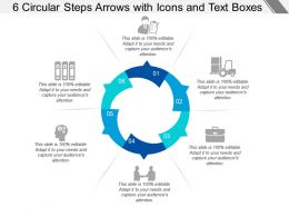6 Circular Steps Arrows With Icons And Text Boxes