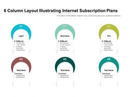 6 Column Layout Illustrating Internet Subscription Plans