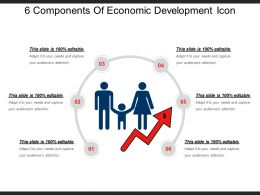 6 Components Of Economic Development Icon Ppt Example