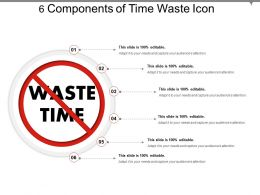 6 Components Of Time Waste Icon Presentation PowerPoint