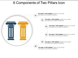 6 Components Of Two Pillars Icon Ppt Examples Slides
