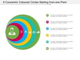 6 Concentric Coloured Circles Starting From One Point