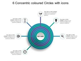 6 Concentric Coloured Circles With Icons