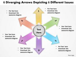 6 diverging arrows depicting different issues cycle process powerpoint templates