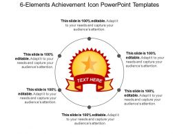 6 Elements Achievement Icon Powerpoint Templates