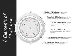 6 Elements Of Clock Icon Ppt Sample Download