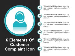 6 Elements Of Customer Complaint Icon PowerPoint Layout