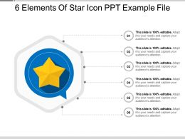 6 Elements Of Star Icon PPT Example File