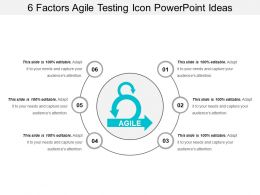6 Factors Agile Testing Icon Powerpoint Ideas