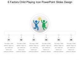 6 Factors Child Playing Icon Powerpoint Slides Design