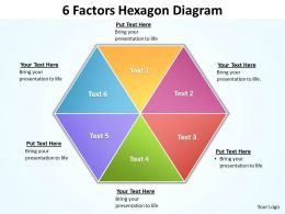 6 factors hexagon diagram editable powerpoint Slides templates