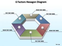 6 factors hexagon editable powerpoint templates