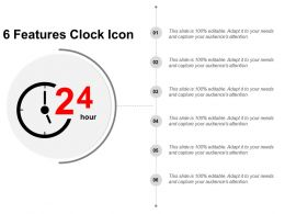 6 Features Clock Icon Ppt Slide Examples