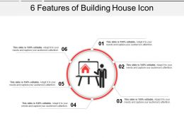 6 Features Of Building House Icon Powerpoint Slide Ideas