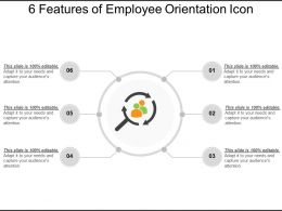 6 Features Of Employee Orientation Icon Ppt Examples Slides