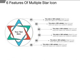 6 Features Of Multiple Star Icon Ppt Examples Slides