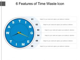 6 Features Of Time Waste Icon Presentation Pictures