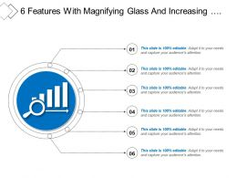6 Features With Magnifying Glass And Increasing Performance Icon