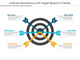 6 Goals And Arrows With Target Board In Center