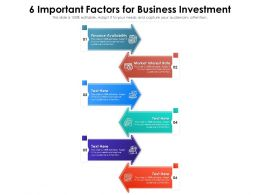 6 Important Factors For Business Investment