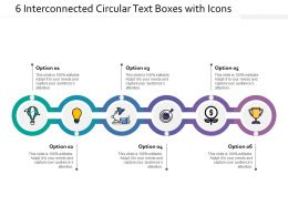 6 Interconnected Circular Text Boxes With Icons