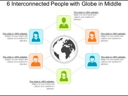6 Interconnected People With Globe In Middle