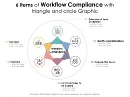 6 Items Of Workflow Compliance With Triangle And Circle Graphic
