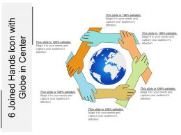 6 Joined Hands Icon With Globe In Center