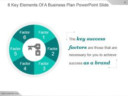 6 Key Elements Of A Business Plan Powerpoint Slide