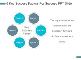 6 Key Success Factors For Success Ppt Slide