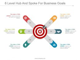 6 Level Hub And Spoke For Business Goals Powerpoint Slide Rules