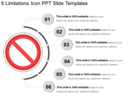 6 Limitations Icon Ppt Slide Templates