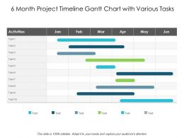 6 Month Project Timeline Gantt Chart With Various Tasks