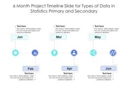 6 Month Project Timeline Slide For Types Of Data In Statistics Primary And Secondary Infographic Template
