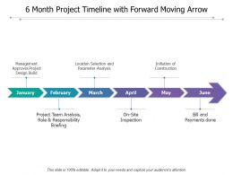 6 Month Project Timeline With Forward Moving Arrow