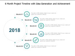 6 Month Project Timeline With Idea Generation And Achievement