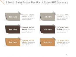 6 Month Sales Action Plan Post It Notes Ppt Summary