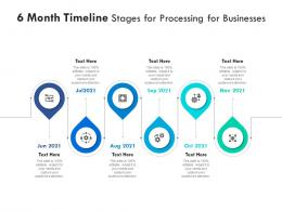 6 Month Timeline Stages For Processing For Businesses Infographic Template