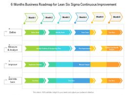 6 Months Business Roadmap For Lean Six Sigma Continuous Improvement