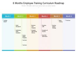 6 Months Employee Training Curriculum Roadmap