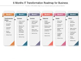 6 Months IT Transformation Roadmap For Business