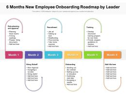 6 Months New Employee Onboarding Roadmap By Leader