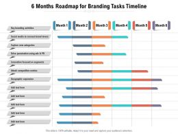 6 Months Roadmap For Branding Tasks Timeline