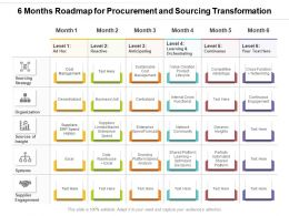 6 Months Roadmap For Procurement And Sourcing Transformation