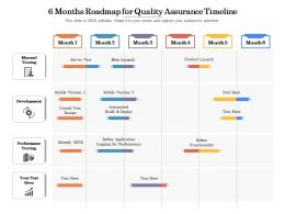 6 Months Roadmap For Quality Assurance Timeline