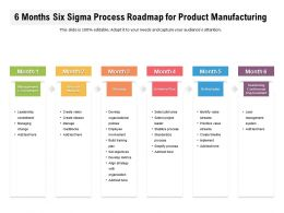 6 Months Six Sigma Process Roadmap For Product Manufacturing
