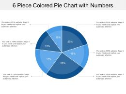 6 Piece Colored Pie Chart With Numbers