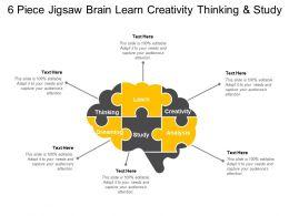 6 Piece Jigsaw Brain Learn Creativity Thinking And Study